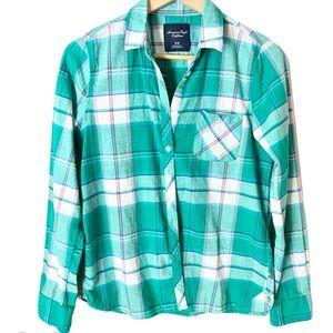 American Eagle Plaid Button Front Shirt